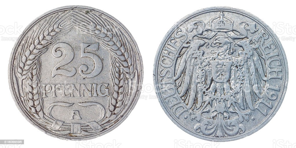 25 pfennig 1911 coin isolated on white background, Germany stock photo