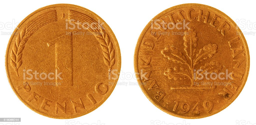 1 pfennig 1949 coin isolated on white background, Germany stock photo