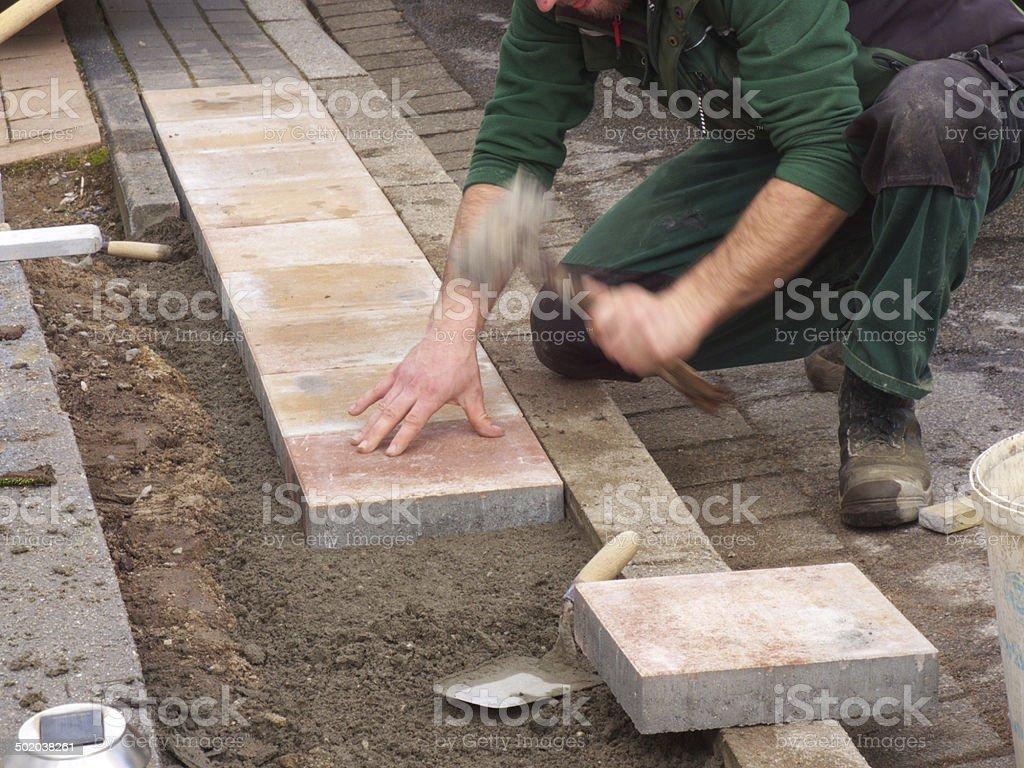 Pflasterarbeiten stock photo