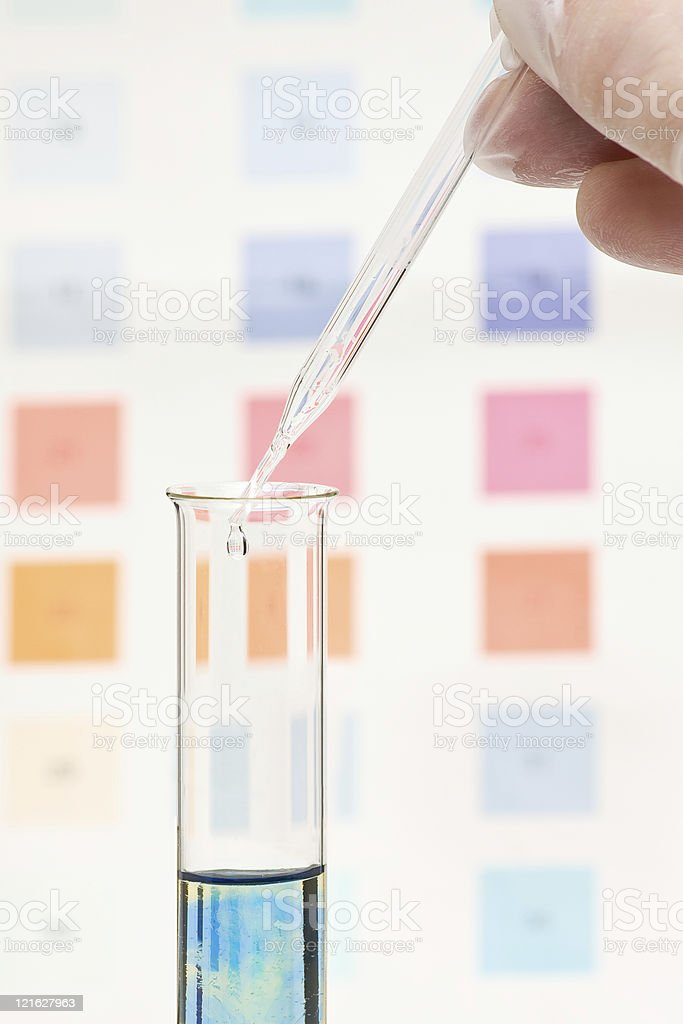 pH test color change stock photo