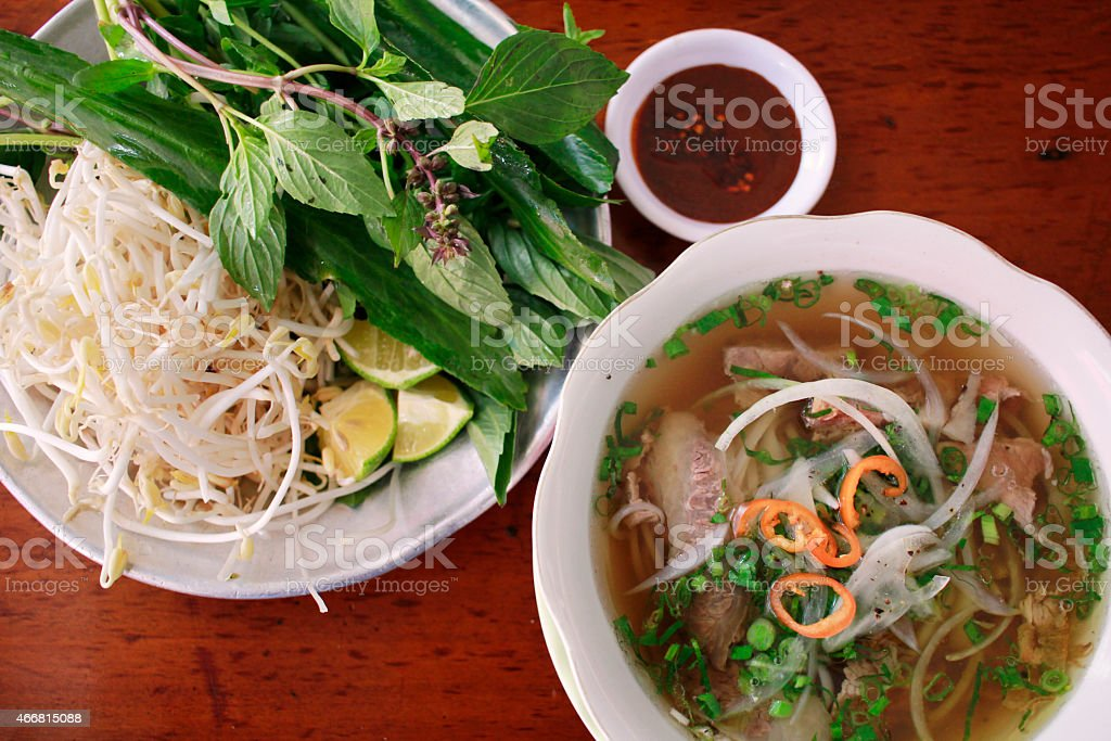 'Phở' Traditional Vietnamese beef noodle soup stock photo