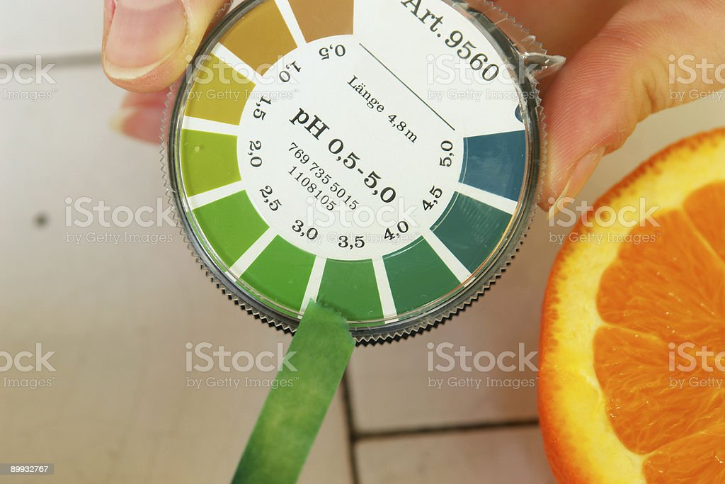 pH value determination orange fruit royalty-free stock photo