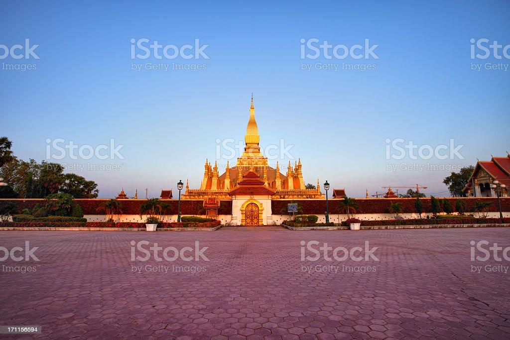Pha That Luang stupa at sunset, Vientiane, Laos stock photo