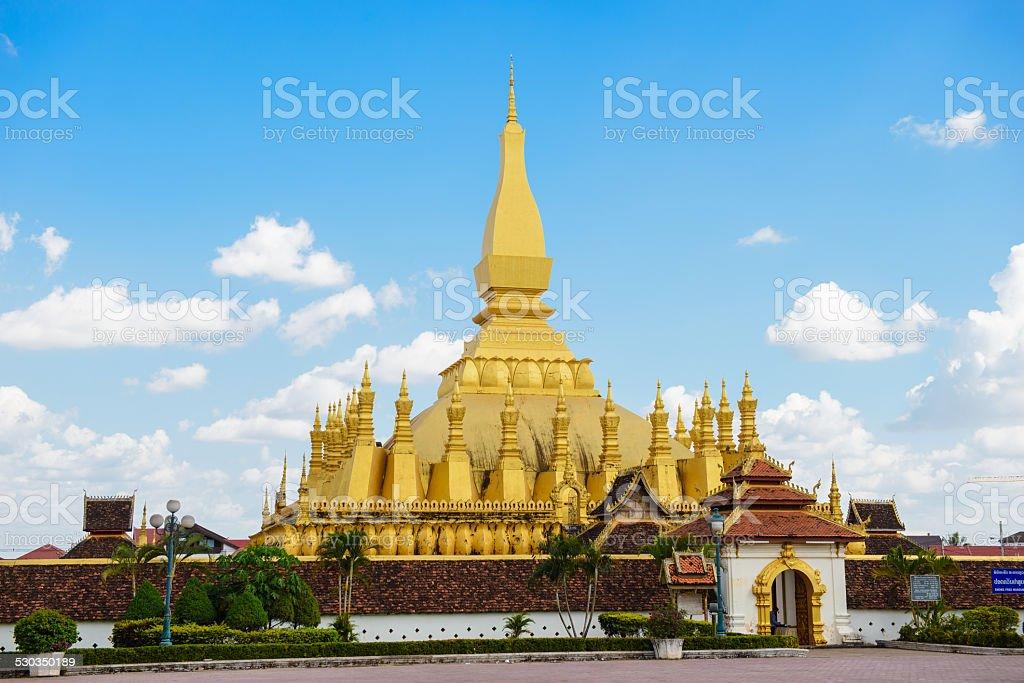 Pha That Luang stupa in Vientiane stock photo