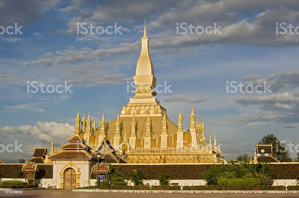 Pha That Luang, the Golden Stupa in Laos royalty-free stock photo