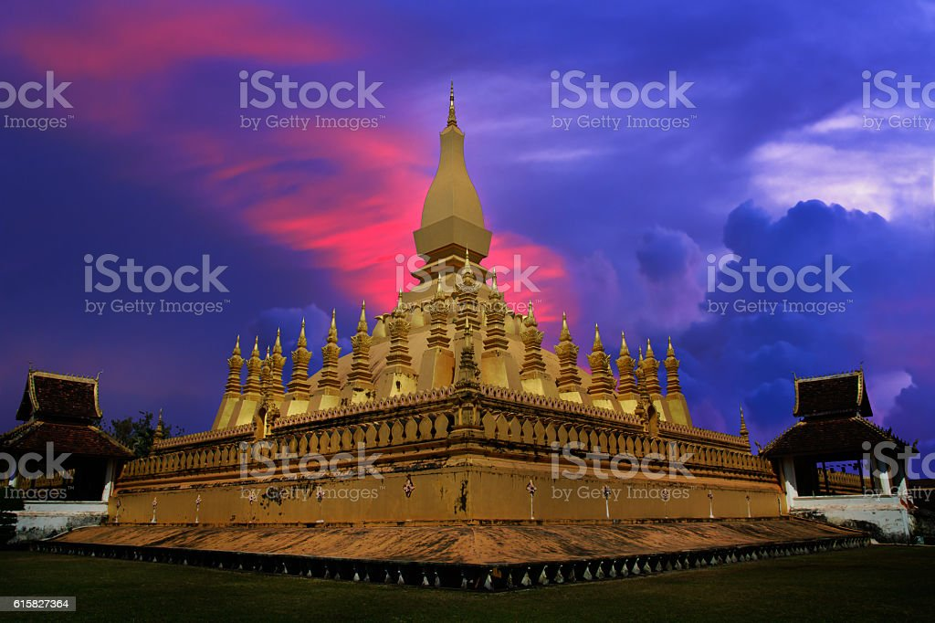 Pha That Luang Vientiane in twilight time. stock photo