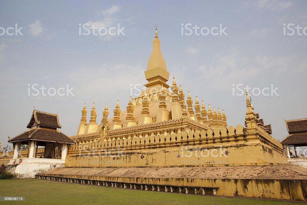 Pha That Luang ,Vientiane Laos cloudy. stock photo
