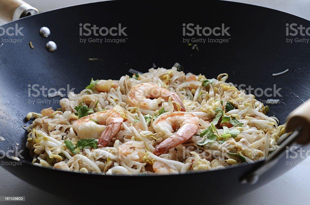 Phad Thai - stir-fried rice noodles with prawns royalty-free stock photo
