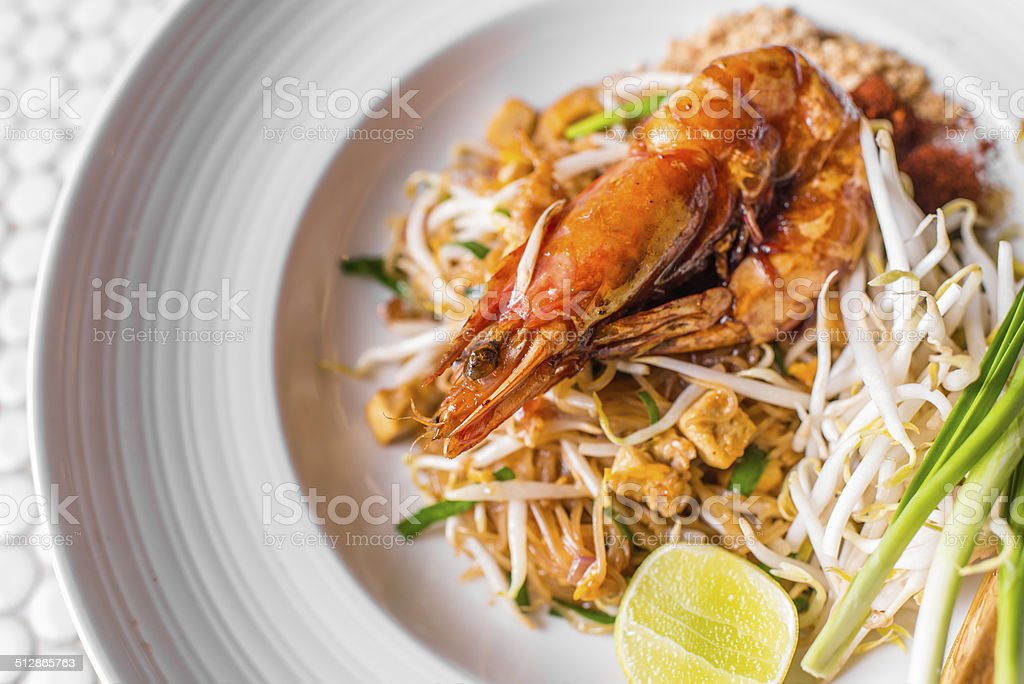 Phad Thai with big shrimp, stock photo