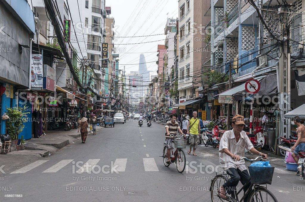 Pham Ngu Lao Street In Ho Chi Minh City, Vietnam royalty-free stock photo