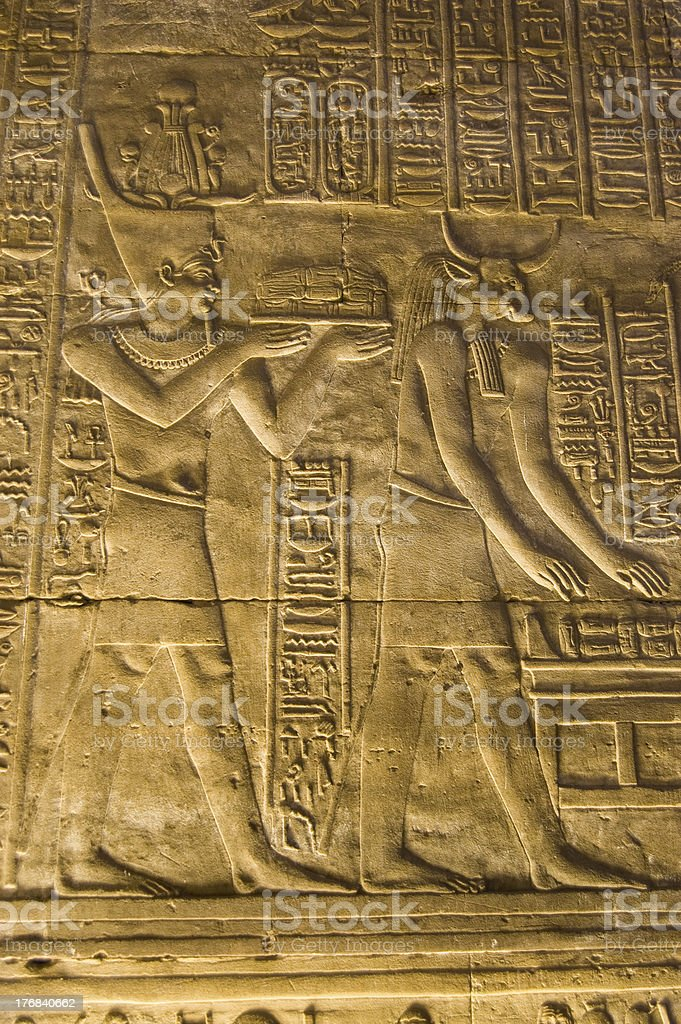 Pharaoh and Apis the bull god stock photo