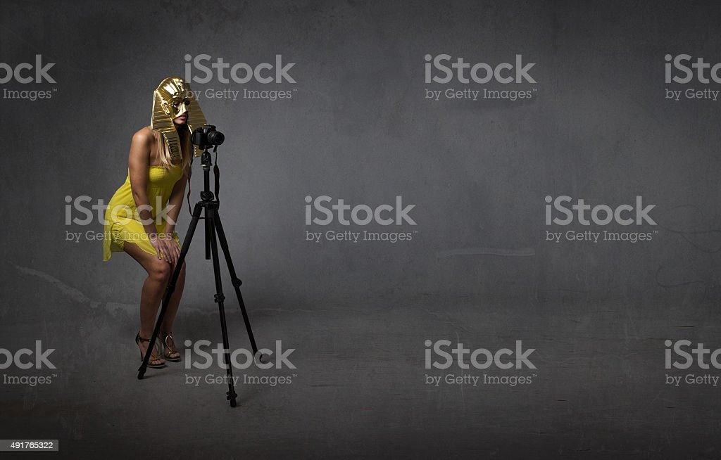 pharaoh photographer with tripod stock photo