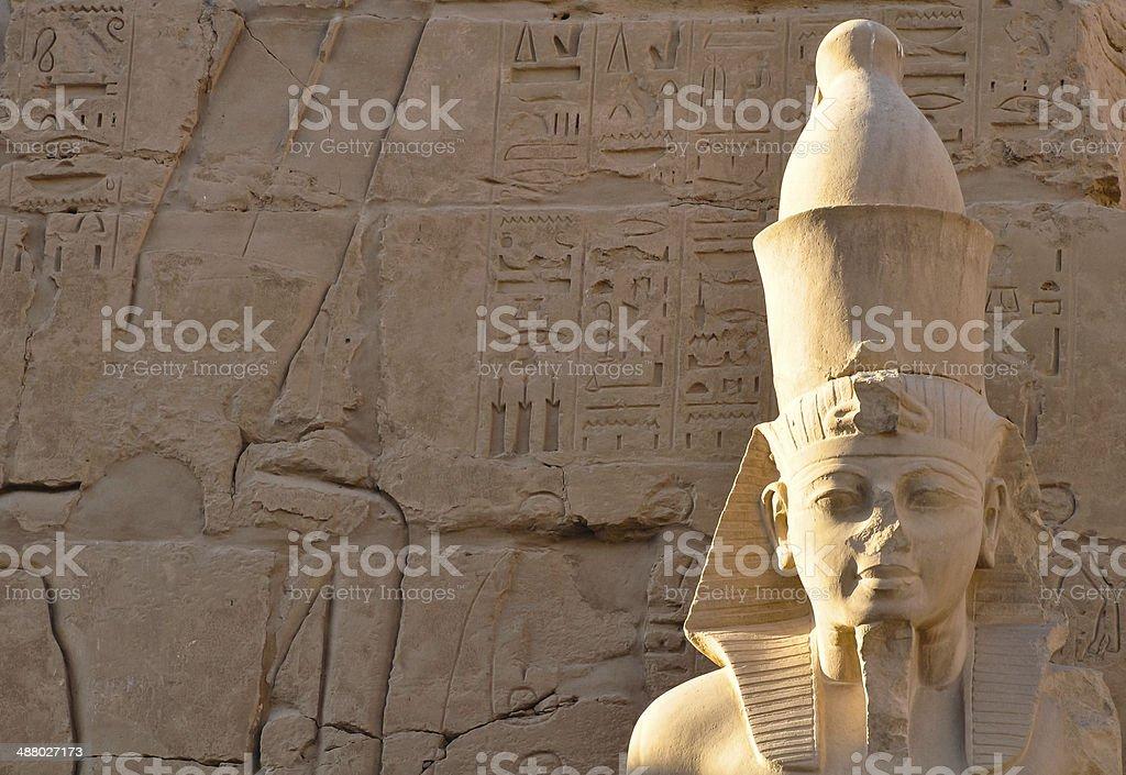 pharaoh's head in karnak temple, luxor stock photo