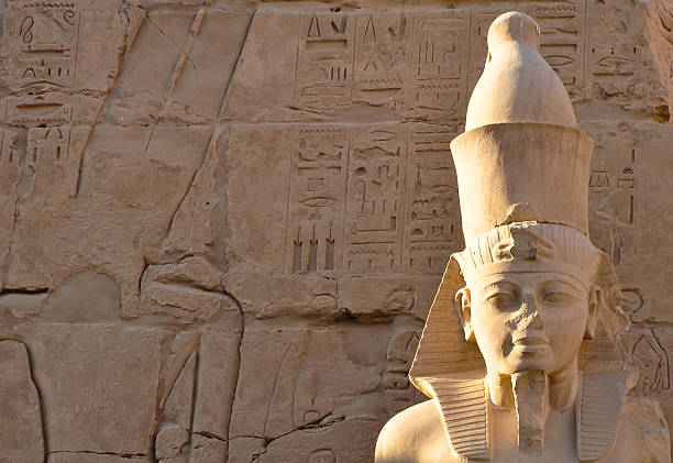 pharaoh's head in karnak temple, luxor pharaoh's head in karnak temple, luxor valley of the kings stock pictures, royalty-free photos & images