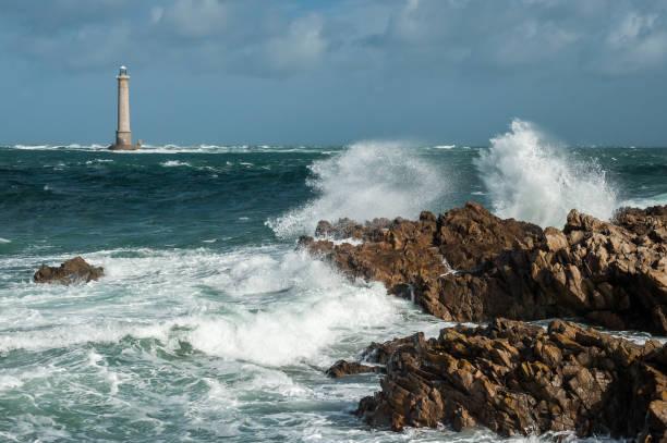 Phare du cap de la Hague, Goury Normandy France on a stormy day stock photo