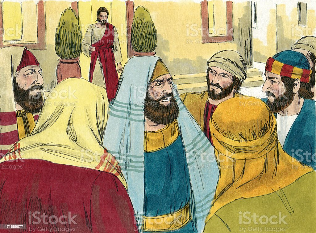 Pharisees and Disciples stock photo