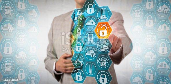 488497362istockphoto Pharma Executive Securely Accessing Piece Of Data 944334044