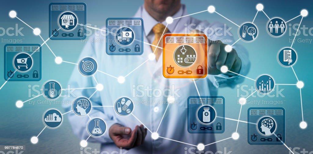 Pharma Logistician Using IoT Based On Blockchain stock photo
