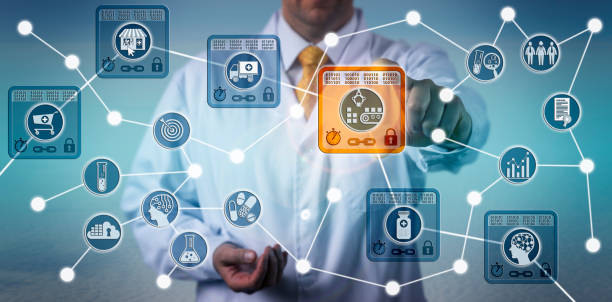 pharma logistician using iot based on blockchain - blockchain foto e immagini stock