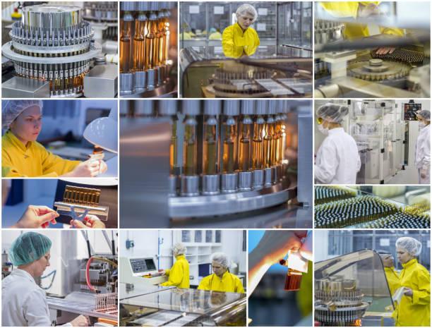 제약 및 의약품 제조 - 제약 노동자 - 콜라주 사진 - 앰풀 뉴스 사진 이미지