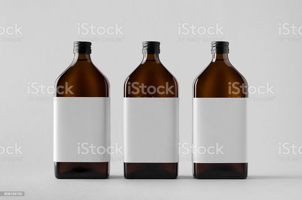 Pharmaceutical Bottle Mock-Up - Three Bottles. Blank Label stock photo
