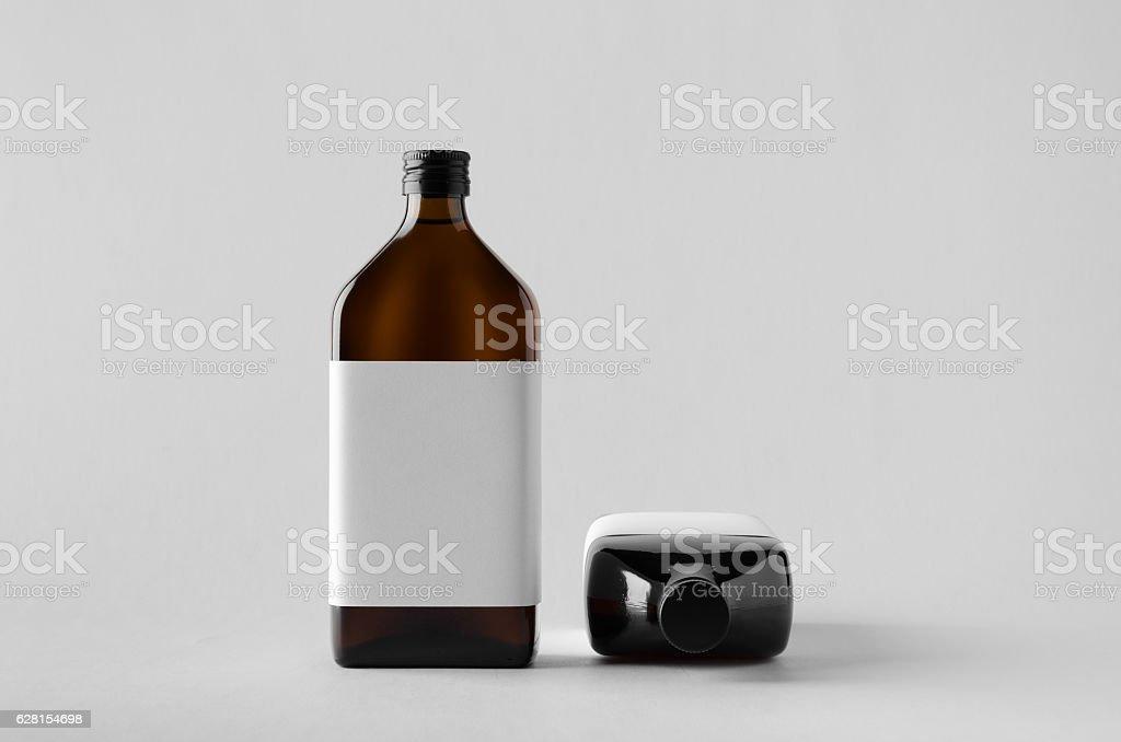 Pharmaceutical Bottle Mock-Up - Two Bottles. Blank Label stock photo