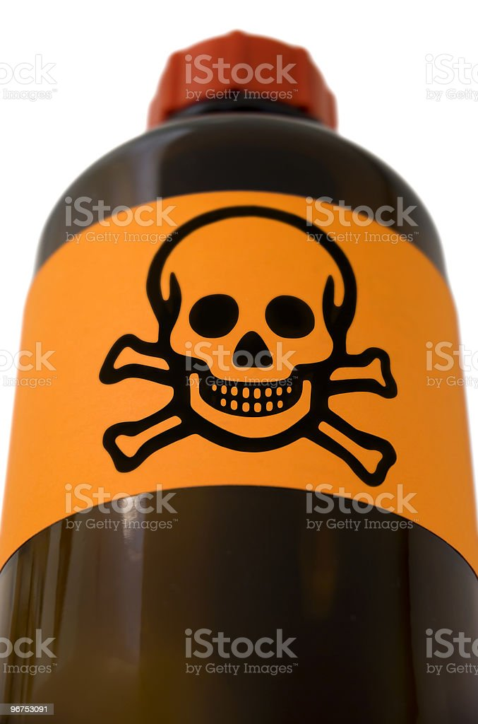 Pharmaceutical bottle with skull royalty-free stock photo
