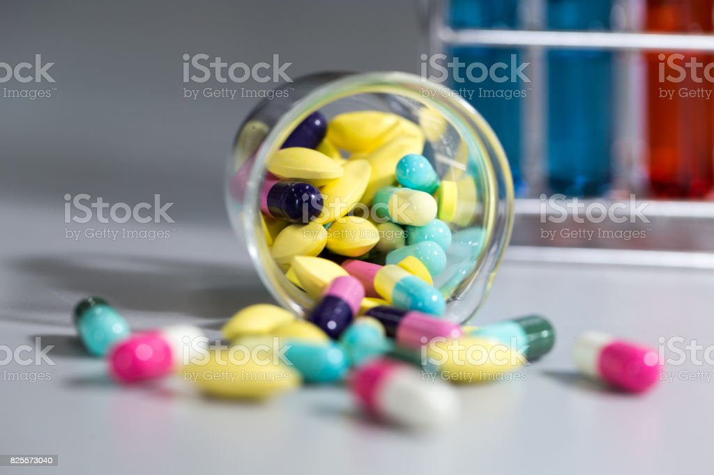 Pharmaceutical Drugs for patient in hospital and for education in laboratory. stock photo