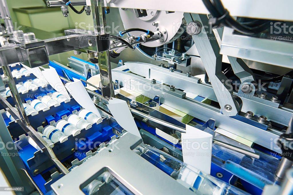 pharmaceutical production line stock photo