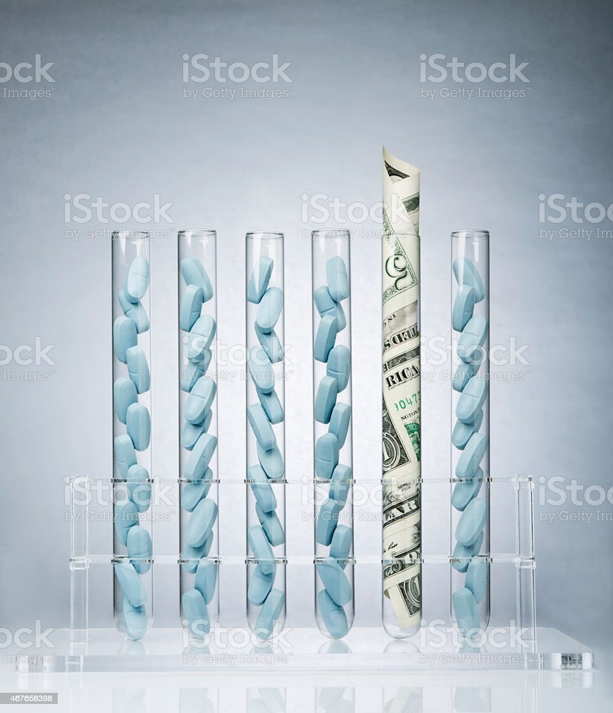 Pharmaceutical research costs stock photo