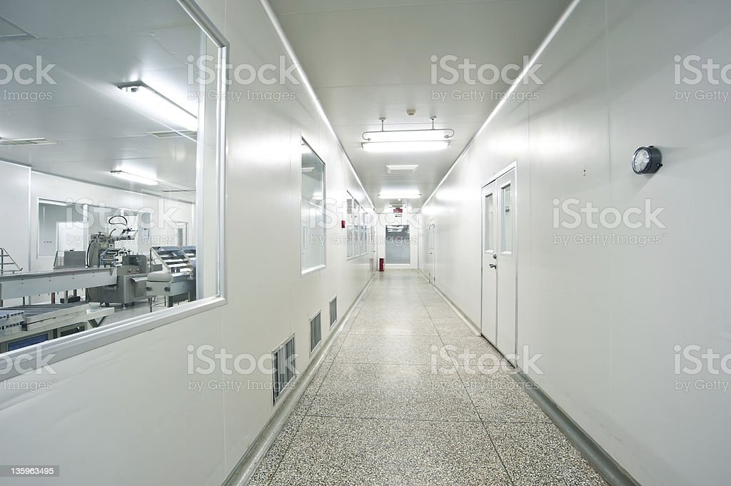 Pharmaceutical, sterile shop interior hallway royalty-free stock photo