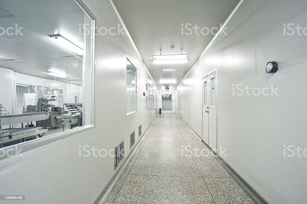 Pharmaceutical, sterile shop interior hallway stock photo