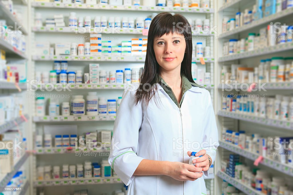 Pharmacist - With Pills Bottle royalty-free stock photo