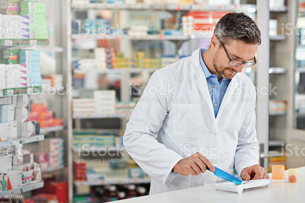 Pharmacists are still the experts in medicine stock photo