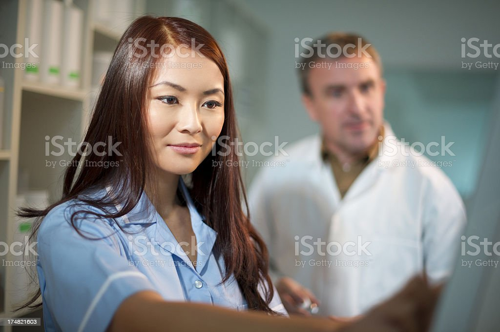 pharmacists in the dispensary royalty-free stock photo