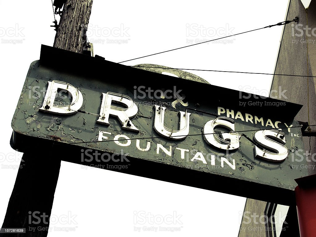 Pharmacy and Fountain Drink Sign royalty-free stock photo