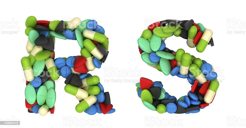 Pharmacy font R and S pills letters royalty-free stock photo