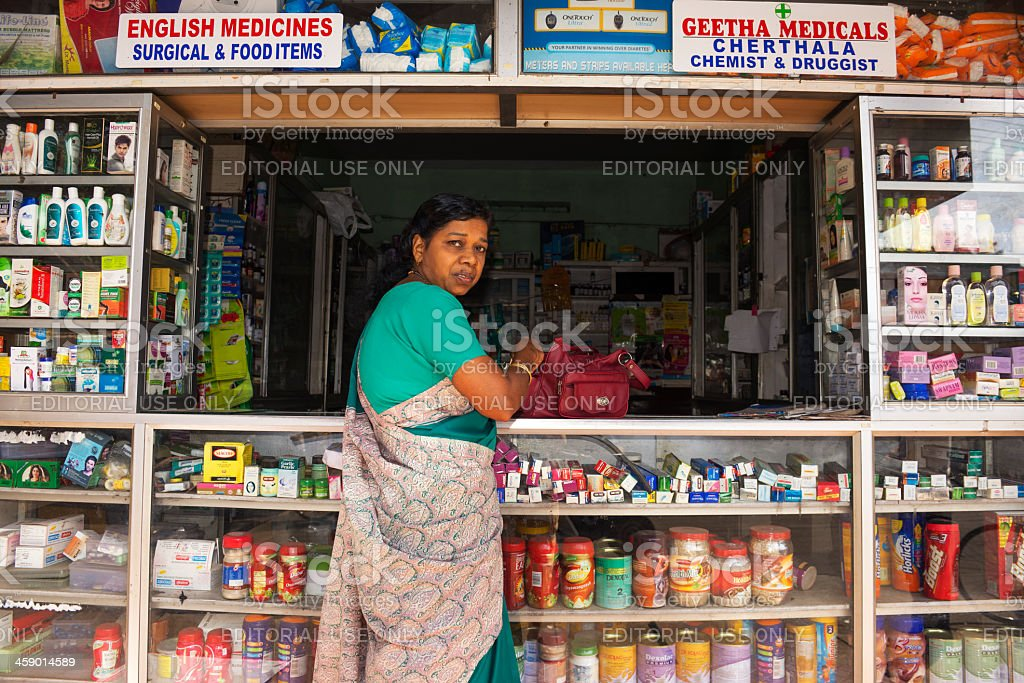 Pharmacy in Kerala royalty-free stock photo