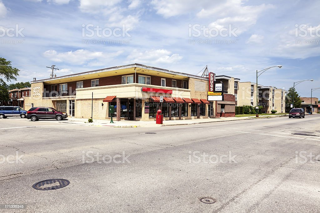 Pharmacy in West Elsdon, Chicago royalty-free stock photo