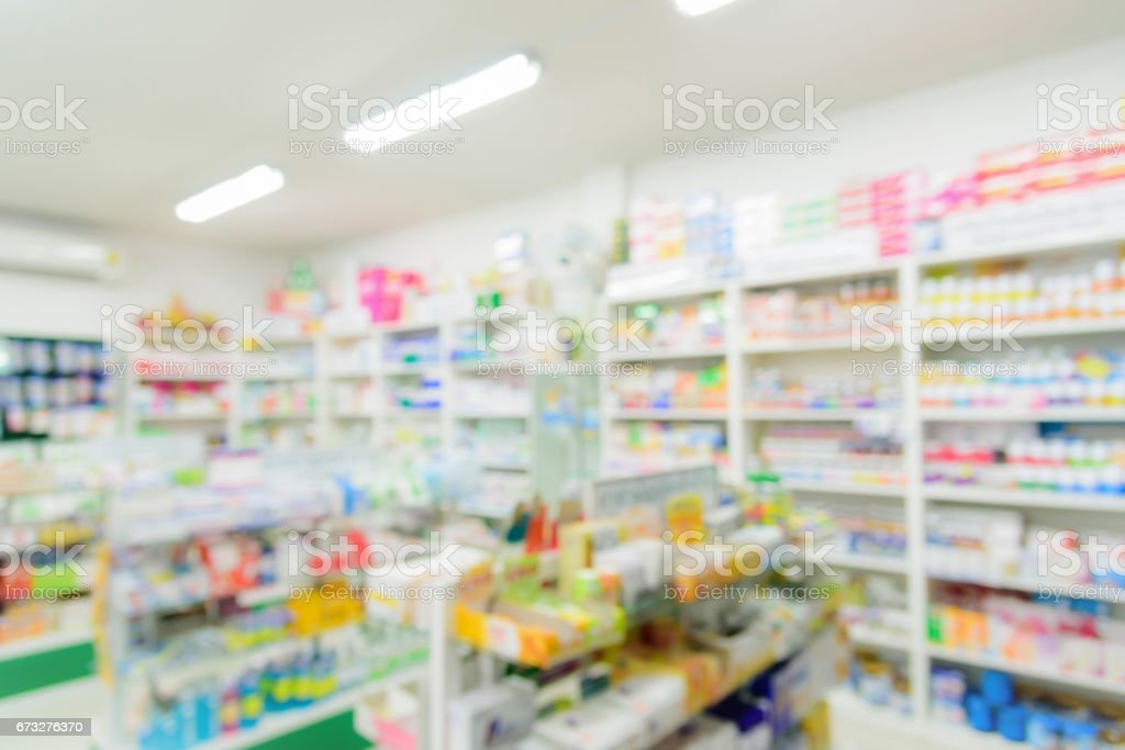 Pharmacy interior with blurred background – Foto