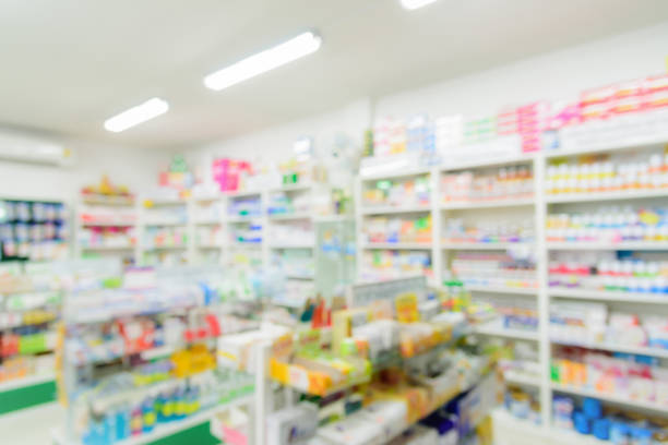 Pharmacy interior with blurred background ストックフォト