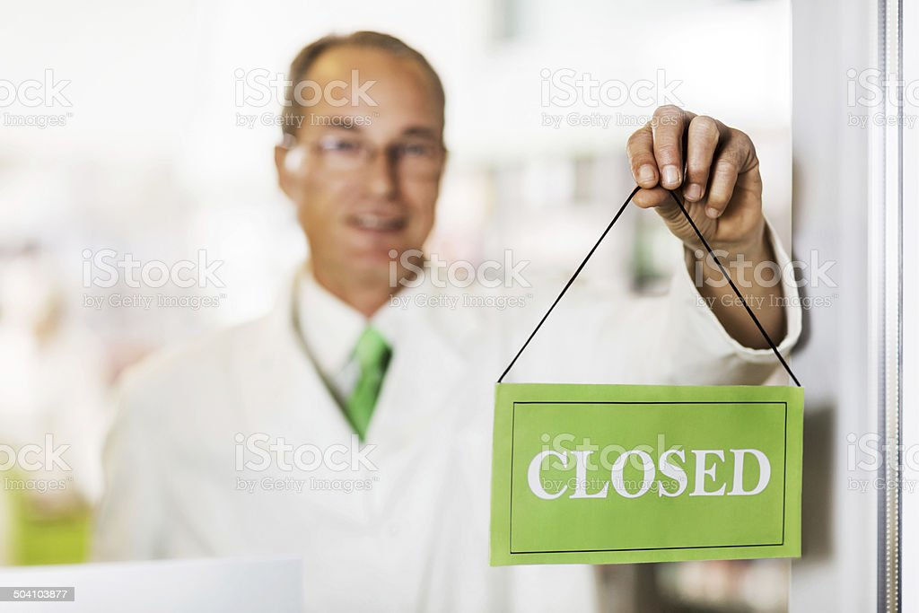 Pharmacy is closed! stock photo