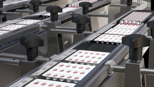 pharmacy medicine capsule pill in production line at medical factory