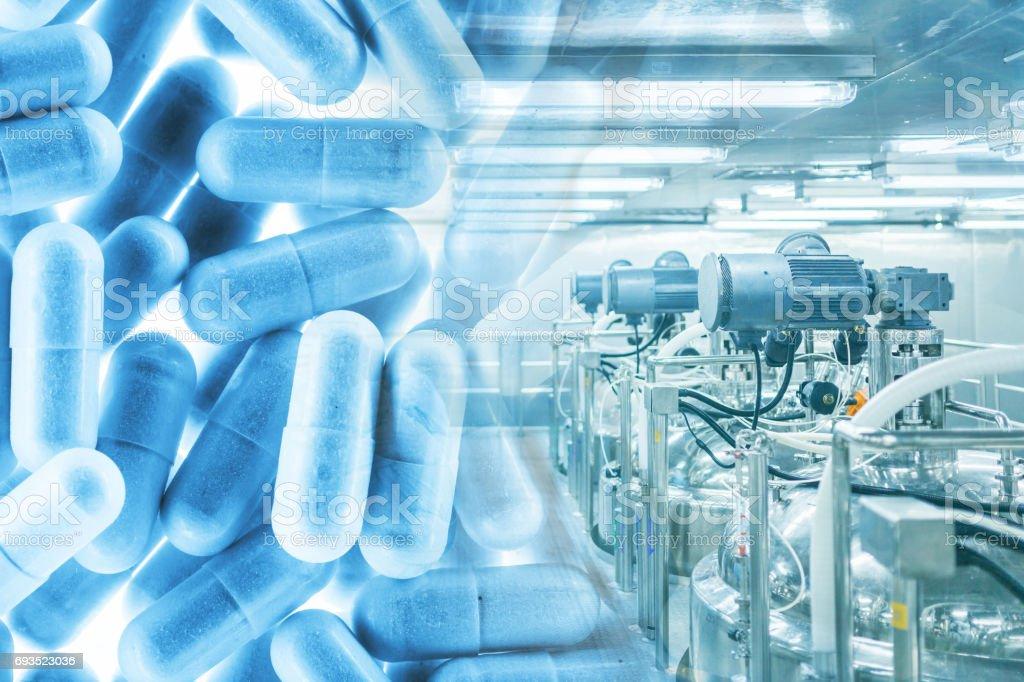 pharmacy plants with capsule medicines stock photo