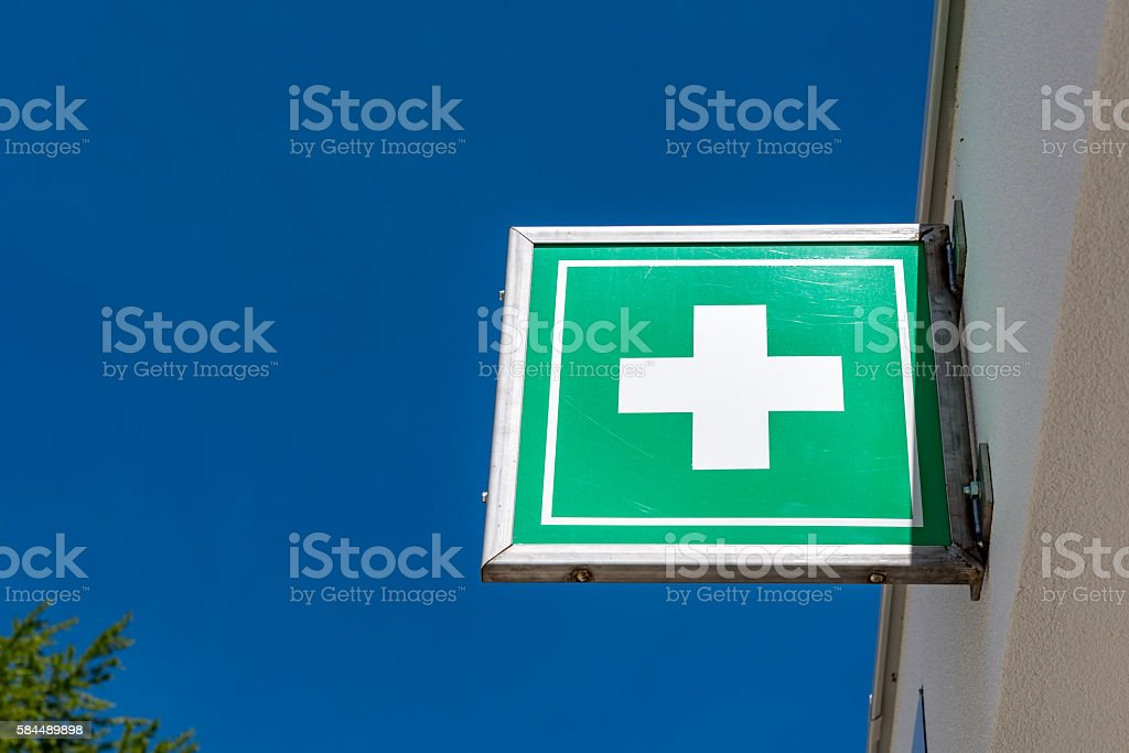 Pharmacy sign on the old building stock photo