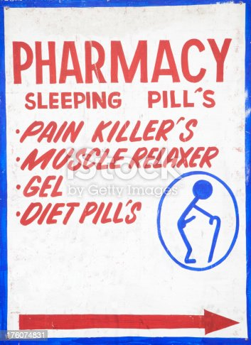 Sign advertising pharmaceutical products. No brand names or logos.