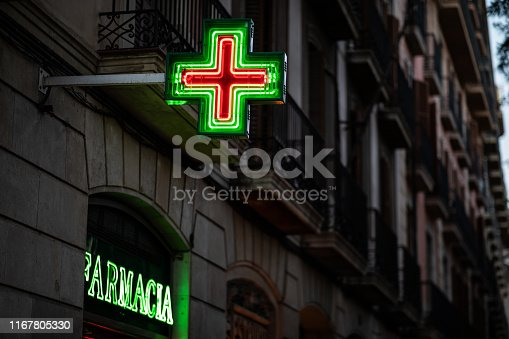 Pharmacy signs illuminated at night on spanish architecture facade with copy space