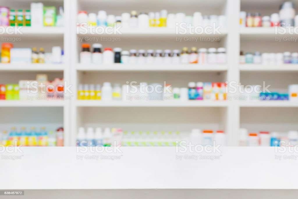 pharmacy store background with drugstore counter stock photo