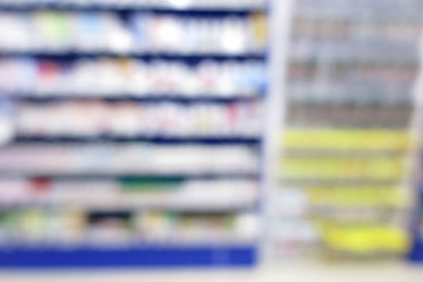 Pharmacy store, drug store, healthcare shop, supermarket modern stock photo