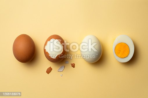 Phases of a boiled egg on yellow background.